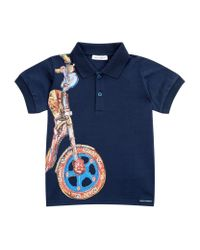 Dolce & Gabbana - Blue Scooter Print Polo Shirt for Men - Lyst