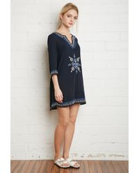 Forever 21 - Blue Embroidered Gauze Shift Dress - Lyst