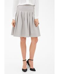 307797751 Forever 21 Contemporary Faux Leather Box-pleated Skirt in Brown - Lyst