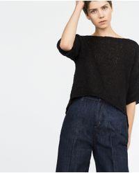 Zara | Black Cropped Sweater | Lyst