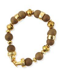 Jose & Maria Barrera - Metallic Gold-Plated & Druzy Beaded Bracelet - Lyst