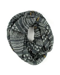 Michael Stars | Blue Viscose Linen Blend Eternity Scarf With Geometric Pattern | Lyst