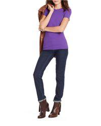 Lauren by Ralph Lauren | Purple Cotton Crewneck Tee | Lyst