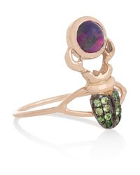 Daniela Villegas | Green Khepri 18karat Rose Gold Tsavorite and Opal Ring | Lyst