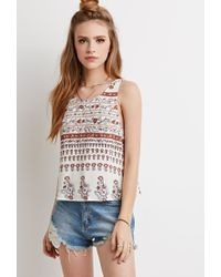 Forever 21 | Brown Abstract Floral Ladder-back Tank You've Been Added To The Waitlist | Lyst