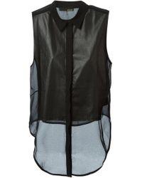 Avelon - Black Leather Sleeveless Shirt - Lyst