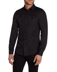 Versace Jeans | Black Slim Fit Embroidered Logo Shirt for Men | Lyst