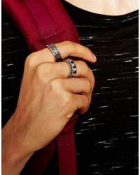 ASOS | Metallic Embossed Ring Pack In Silver for Men | Lyst