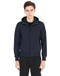 Stone Island - Blue Hooded Zipped Softshell Jersey Jacket for Men - Lyst