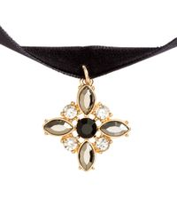H&M | Black Choker With A Sparkly Pendant | Lyst
