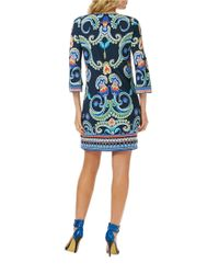 Laundry by Shelli Segal | Blue Paisley Print Square-Neck Dress | Lyst