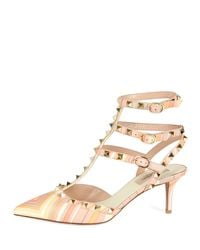 Valentino - Natural 'rockstud' Chevron Pumps - Lyst