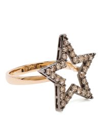 Rosa De La Cruz - Black Small 18k Rose Gold And Diamond Ring - Lyst