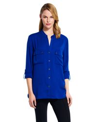 Adrianna Papell - Blue Long Sleeved Blouse - Lyst