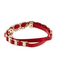 Ferragamo | Red Chain Link Leather Bracelet | Lyst