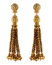 Jose & Maria Barrera | Metallic Golden Crystal Tassel Clip-on Earrings | Lyst