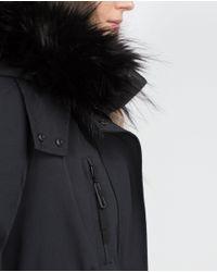 Zara   Black Fleece Lined Parka   Lyst