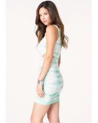 Bebe - Blue Textured Tie Dye Tank Dress - Lyst