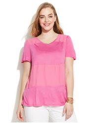 INC International Concepts - Pink Plus Size Mixed-Media Tee - Lyst