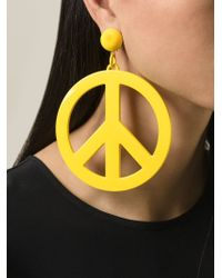 Moschino - Yellow Peace Sign Earrings - Lyst