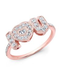 Anne Sisteron | Pink 14kt Rose Gold Diamond I-heart-u Ring | Lyst