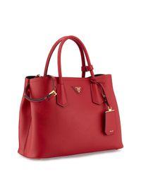 Prada - Red Saffiano Cuir Small Double Bag - Lyst