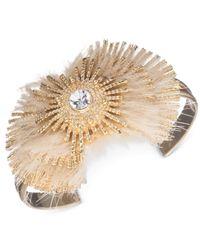 Anne Klein - Metallic Gold-tone Faux-fur Crystal Bangle Bracelet - Lyst