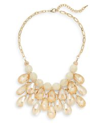 Cara | Metallic Beaded Briolette Bib Necklace | Lyst