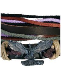 ASOS | Black Eagle Leather Wrap Around Cuff Bracelet for Men | Lyst