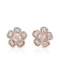 Anne Sisteron - Pink 14kt Rose Gold Diamond Slice Mae Fleur Earrings - Lyst