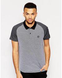 Jack & Jones - Black Polo Shirt With Contrast Raglan Sleeves for Men - Lyst