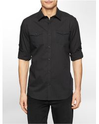 Calvin Klein - Black White Label Classic Fit Stripe Roll-up Sleeve Shirt for Men - Lyst