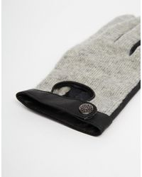 Pieces - Gray Viluka Wool Cutout Gloves - Lyst
