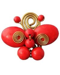 Aeravida - Handmade Swirl Brass Red Butterfly Free Sz Ring - Lyst