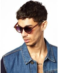 ASOS - Brown Preppy Wayfarer Sunglasses with Blue Tips for Men - Lyst