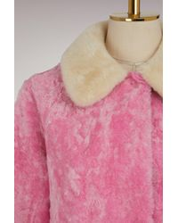 Sofie D'Hoore - Pink Velvet And Fur Lamb Coat - Lyst