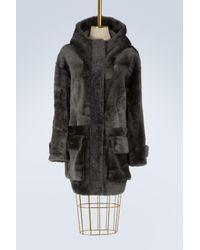 32 Paradis Sprung Freres - Gray Arctique Reversible Shearling Coat - Lyst