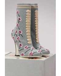 Fendi - Gray Rockoko Socks-boots - Lyst