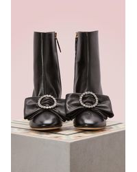 Gucci - Black Leather Ankle Boot With Removable Leather Bow - Lyst