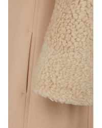 Chloé - Natural Shearling Sleeves Wool Coat - Lyst