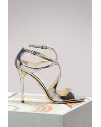 Jimmy Choo | Multicolor Lang 100 Mirror Leather Sandals | Lyst