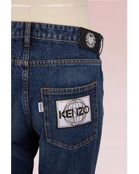 KENZO - Blue Cotton Straight Jean With Patches - Lyst