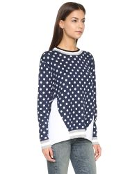 Endless Rose | Blue Polka Dot Combo Sweater - Navy | Lyst