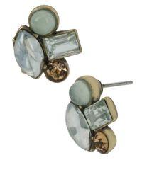 Betsey Johnson | Green Gemstone Cluster Stud Earrings | Lyst