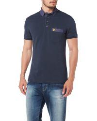 Lyle & Scott - Blue Woven Collar Polo Shirt for Men - Lyst