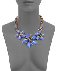 Oscar de la Renta | Metallic Flower Bib Necklace | Lyst