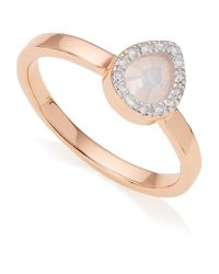 Monica Vinader | Pink Diva Mini Lotus Moonstone Ring | Lyst