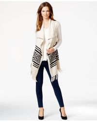 Kensie | Natural Fringed Asymmetrical Sweater Vest | Lyst