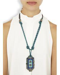 Lanvin - Blue Timeless Swarovski Embellished Woven Necklace - Lyst