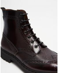 ASOS - Purple Brogue Boots In Burgundy Leather With Cleated Sole for Men - Lyst